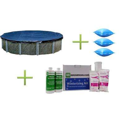 24 ft. Round Pool Cover and Three 4 ft. x 4 ft. Air Pillows and Winterizing Kit