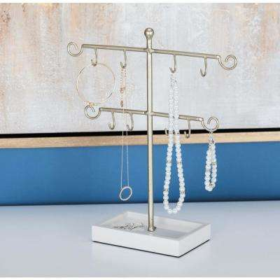 Modern Gold and White, Silver and Black 2-Tiered Jewelry Holder (Set of 2)