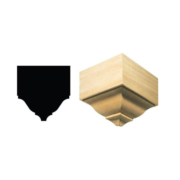 Ornamental Mouldings 1899o S 4 3 16 In X 7 15 32 In X 7 3 4 In White Hardwood Large Outside Crown Connector Block Moulding 1899o Swhw The Home Depot