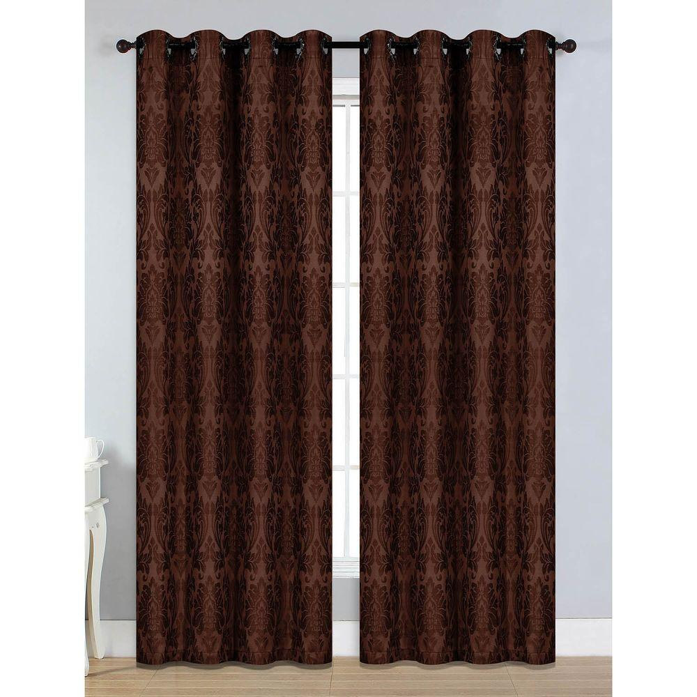 Window Elements Semi Opaque Veronica Jacquard Extra Wide 84 In L Grommet Curtain Panel Pair