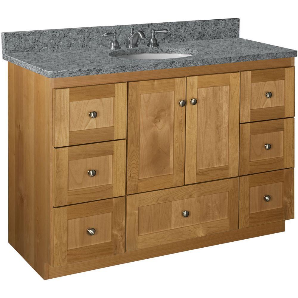 Shaker 48 in. W x 21 in. D x 34.5 in. H Vanity Cabinet Only in Natural Alder
