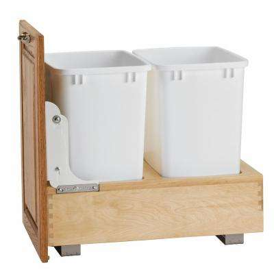 19.25 in. H x 14.25 in. W x 21.75 in. D Double 35 Qt. Pull-Out Bottom Mount Wood and White Waste Container
