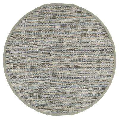 Shimmer Natural Fiber Geometric Blue 8 ft. x 8 ft. Plush Round Indoor Area Rug