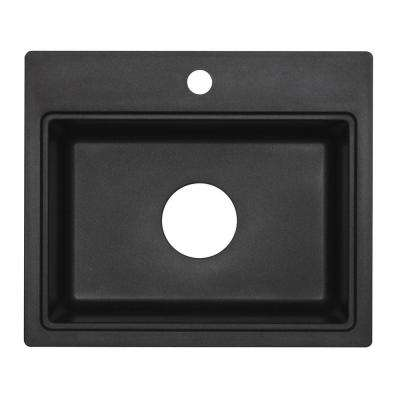 Dual Mount Granite 20 in. 3-Hole Single Basin Bar Sink in Metallic Black