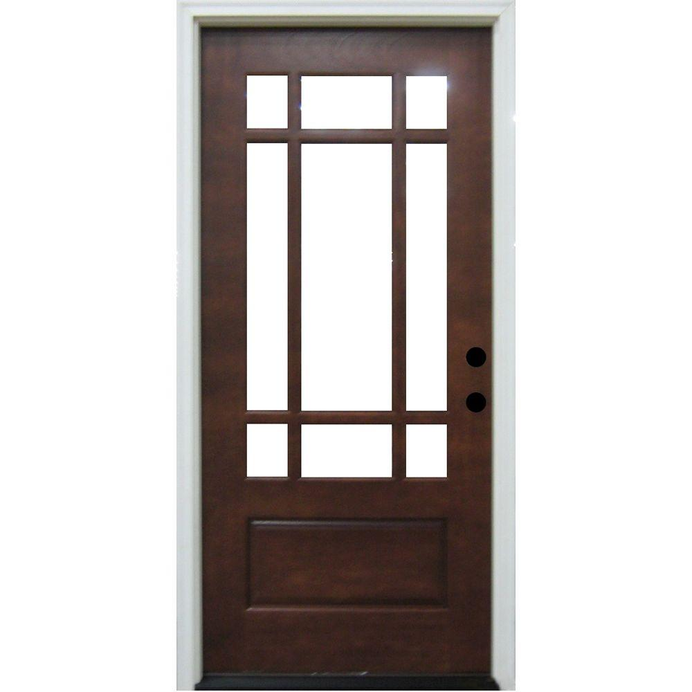 Steves & Sons Praire 9 Lite Prefinished Mahogany Wood Prehung Front Door-DISCONTINUED