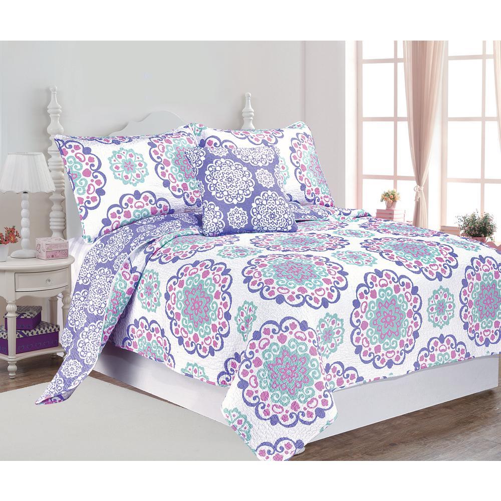 Vivian 4-Piece Purple Full Cotton Printed Quilt Set