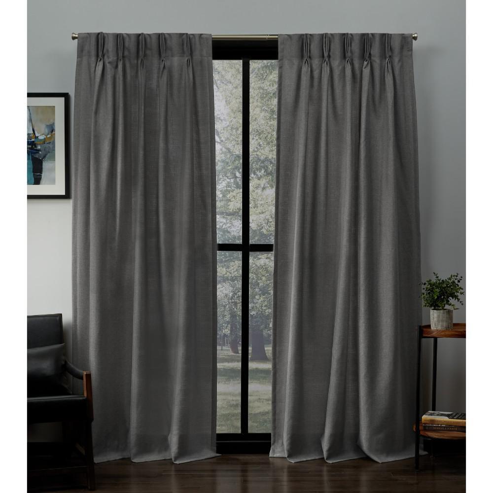 Loha 27 in. W x 84 in. L Linen Blend Pinch Pleat Top Curtain Panel in Black Pearl (2 Panels)