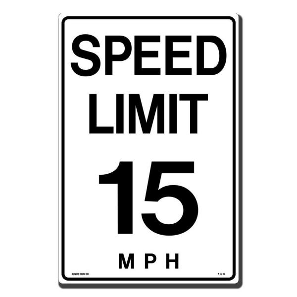 12 in. x 18 in. Speed Limit 15 M.P.H. Sign Printed on More Durable, Thicker, Longer Lasting Styrene Plastic