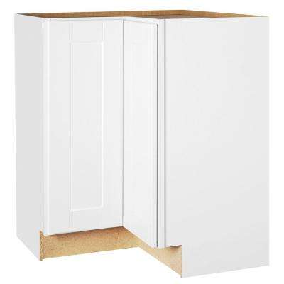 Shaker Assembled 28.5x34.5x16.5 in. Lazy Susan Corner Base Kitchen Cabinet in Satin White