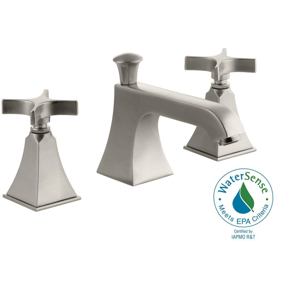 KOHLER Memoirs 8 in. Widespread 2-Handle Low-Arc Bathroom Faucet with Stately Design in Vibrant Brushed Nickel