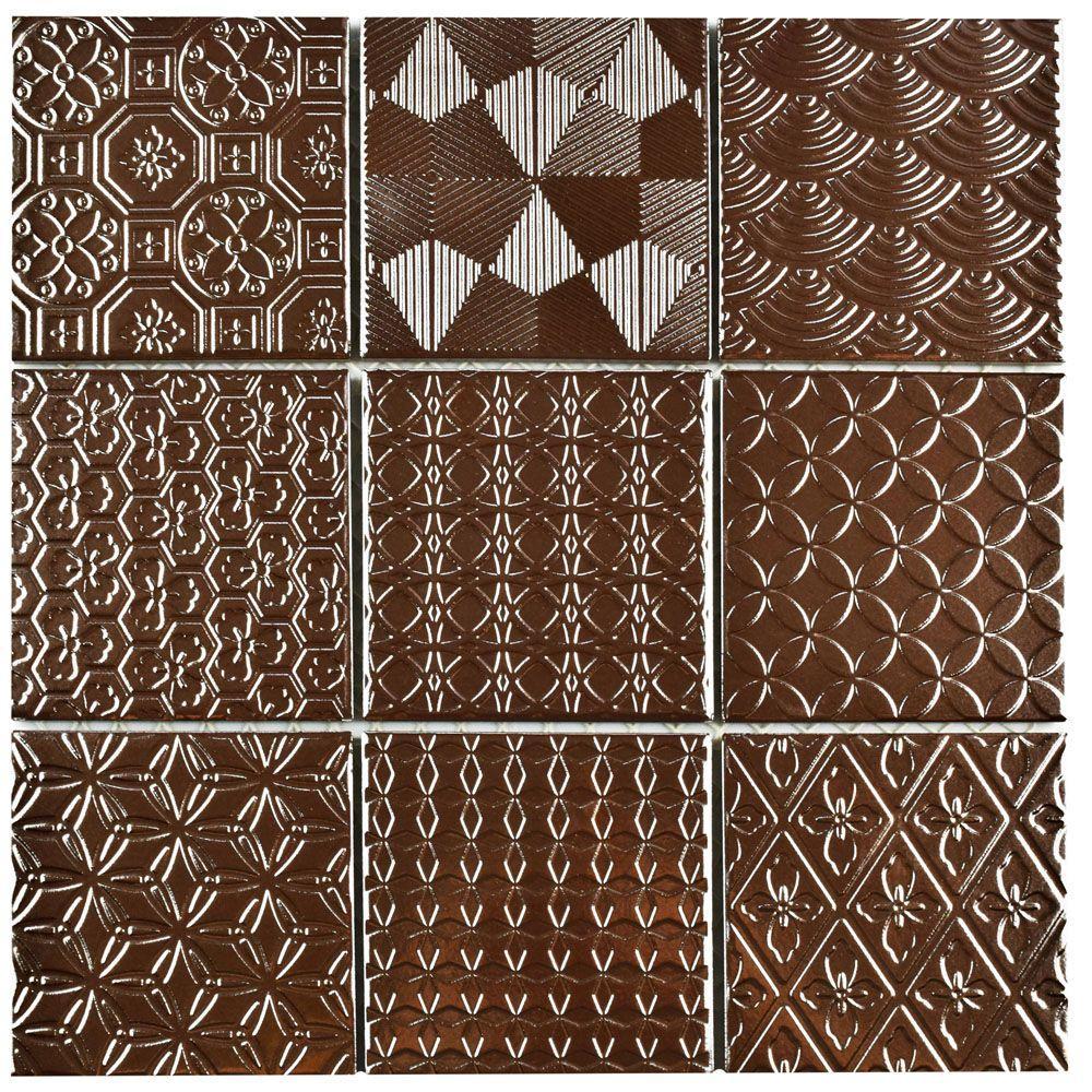 Spirit Copper 11-5/8 in. x 11-5/8 in. x 6 mm Porcelain Mosaic Tile