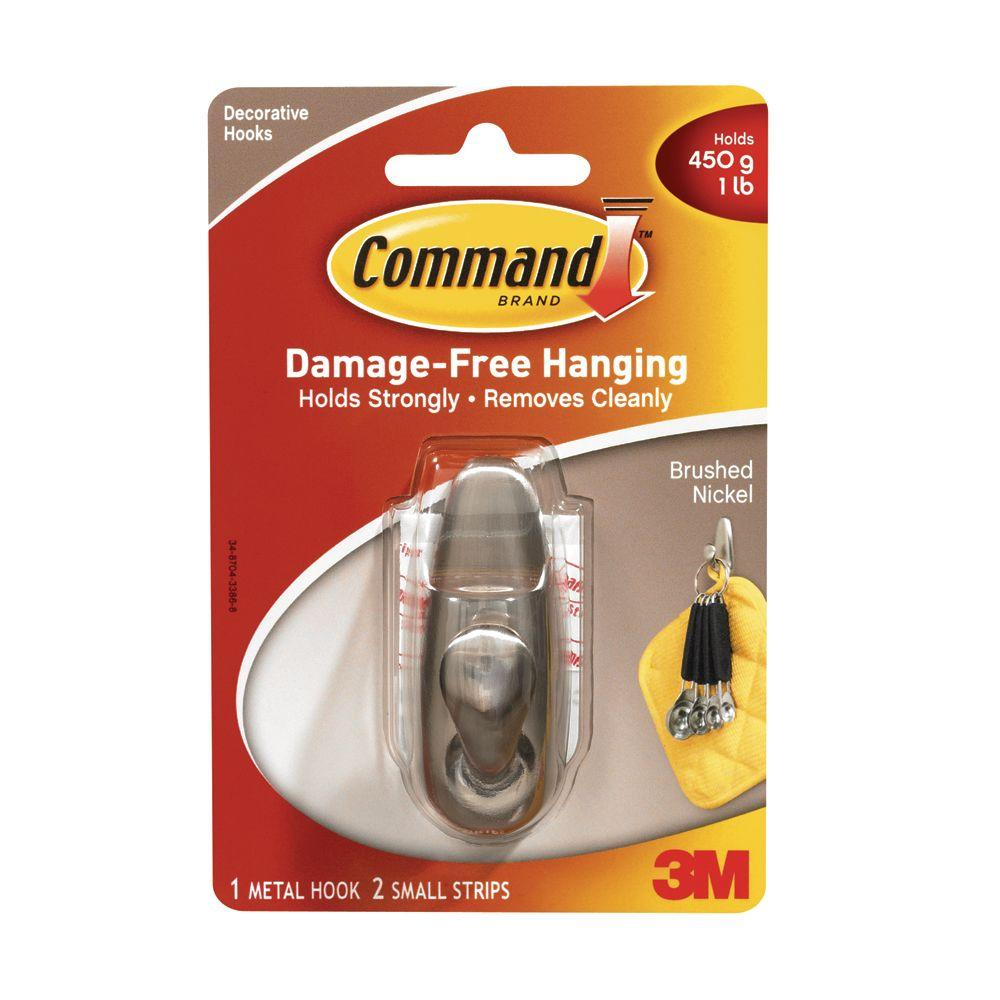 Command 1 Lb 2 In Brushed Nickel Small Rounded Metal Hook Fc11 Bn