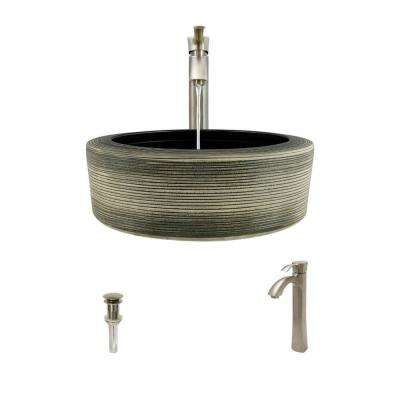 Ceramic Vessel Sink in Gray and Black with 726 Faucet and Pop-Up Drain in Brushed Nickel