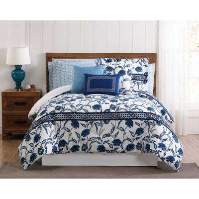Danica 12-Piece Blue Queen Comforter Set
