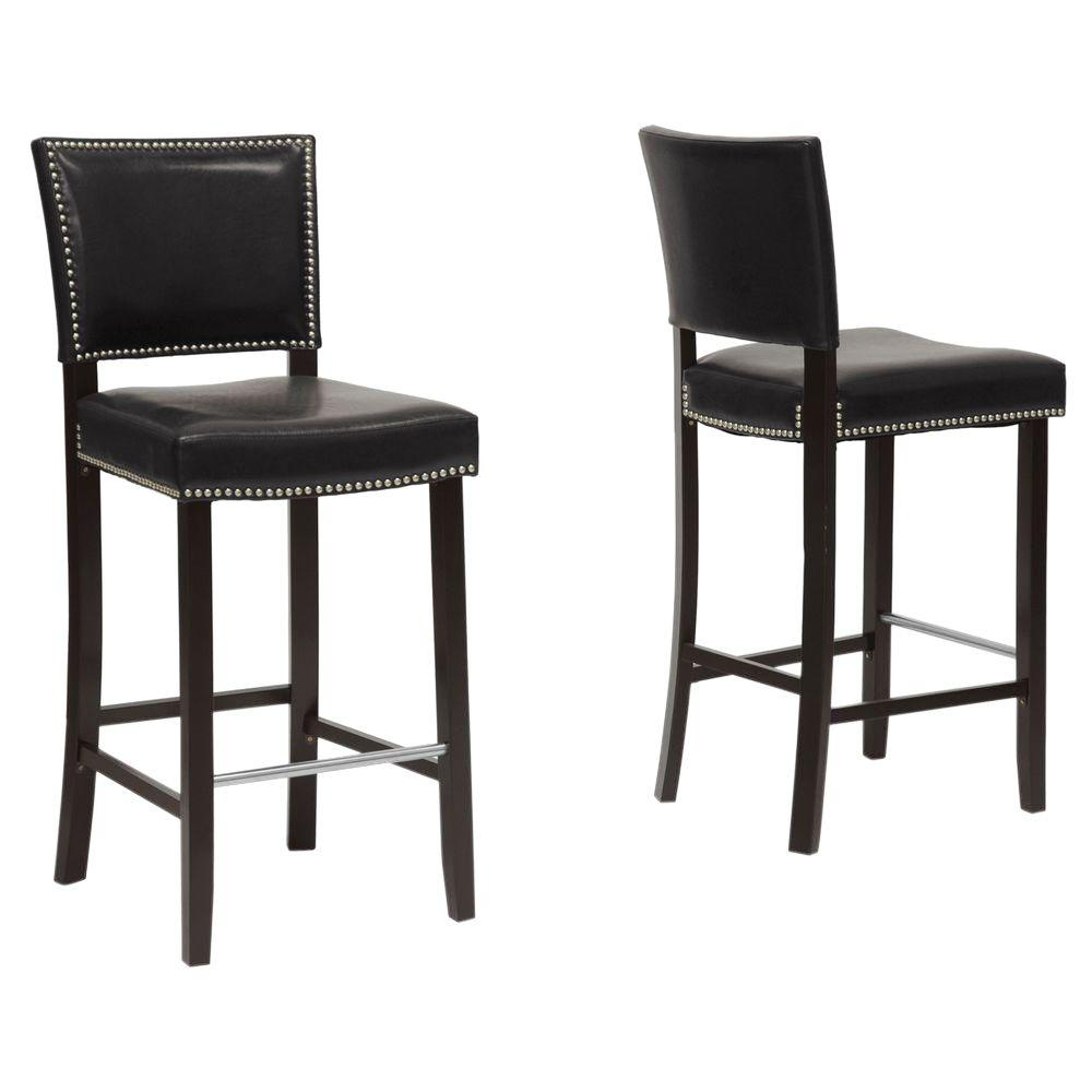 Baxton Studio Aries Black Faux Leather Upholstered 2 Piece Bar Stool Set