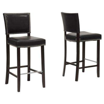 Aries Black Faux Leather Upholstered 2-Piece Bar Stool Set
