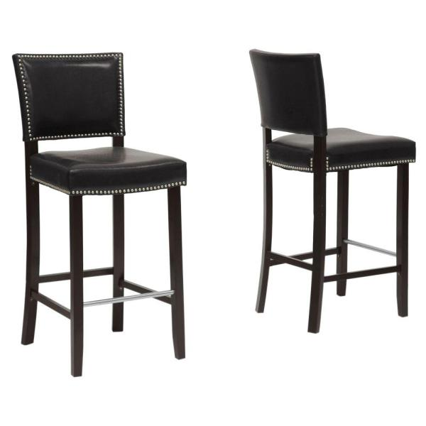 Baxton Studio Aries Black Faux Leather Upholstered 2-Piece Bar Stool Set