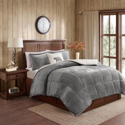 Alton 4-Piece Charcoal/Ivory King Plush to Sherpa Down Alternative Comforter Set