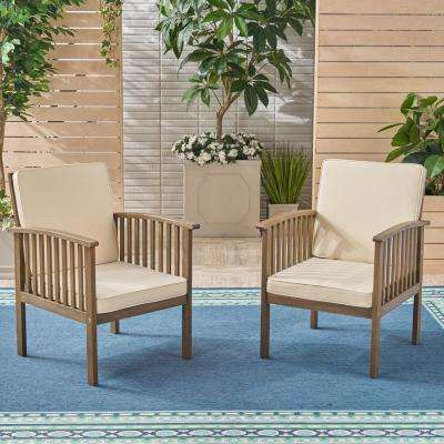 Cordoba Gray Stationary Wood Outdoor Lounge Chair with Cream Cushions (2-Pack)