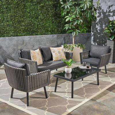 Burke Black 4-Piece Metal Patio Conversation Set with Black Cushions