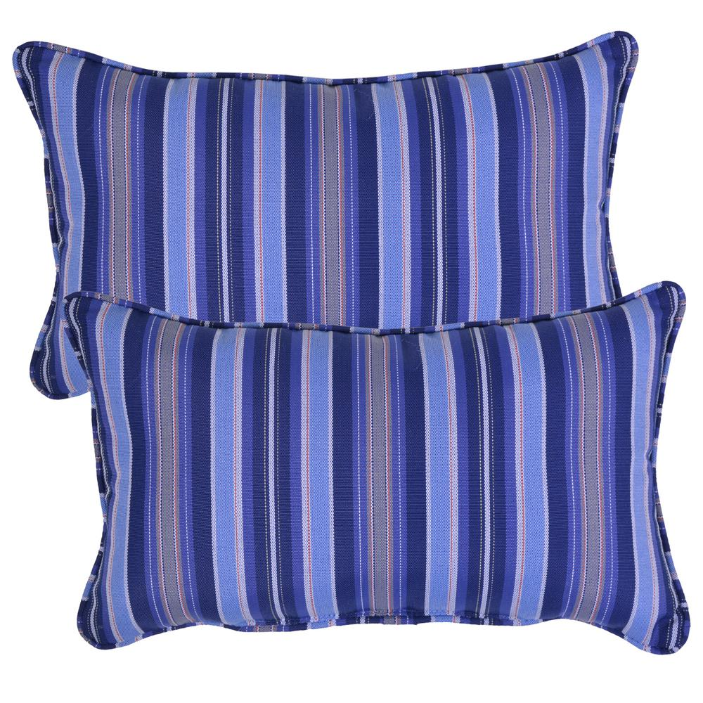 mariner stripe lumbar outdoor throw pillow 2 pack 7907 02210700 the home depot. Black Bedroom Furniture Sets. Home Design Ideas