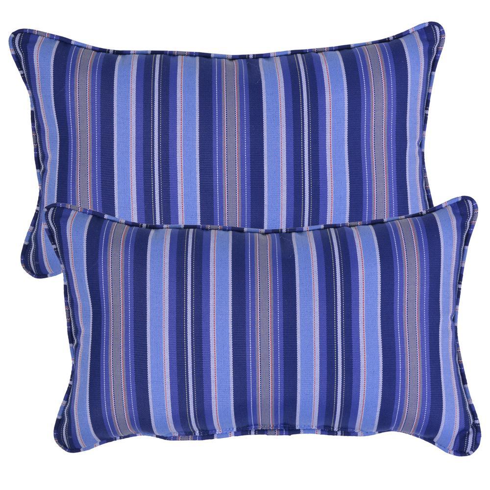 Mariner Stripe Lumbar Outdoor Throw Pillow (2-Pack)
