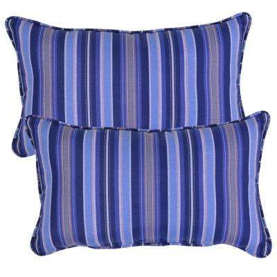 Mariner Stripe Lumbar Outdoor Throw Pillow (2-Pack)