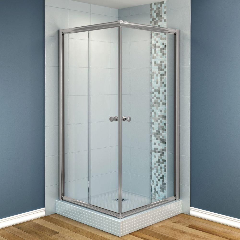 MAAX Centric 40 in. x 40 in. x 70 in. Frameless Corner Shower Door in Clear Glass and Nickel Finish-DISCONTINUED