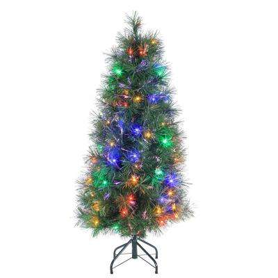 4 ft. Pre-Lit Multicolored Fiber Optic Artificial Christmas Tree with 152 tips