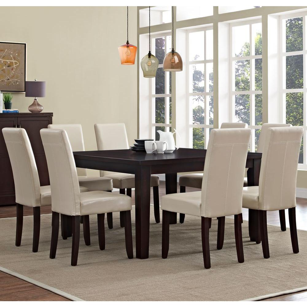 simpli home acadian 9 piece satin cream dining set axcds9 aca cr the home depot. Black Bedroom Furniture Sets. Home Design Ideas