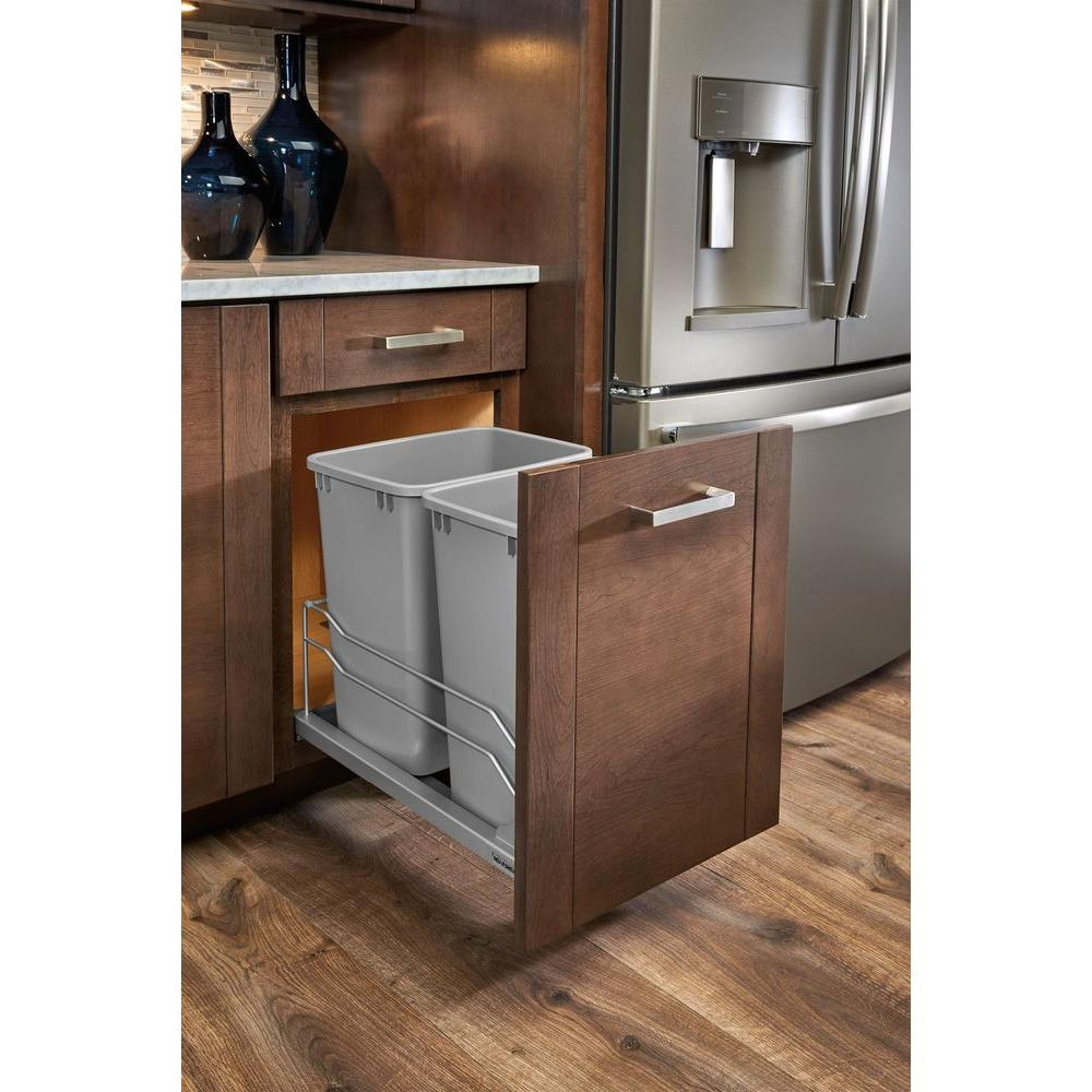 kitchen trash cabinet pull out rev a shelf 35 qt pull out silver waste container 8674