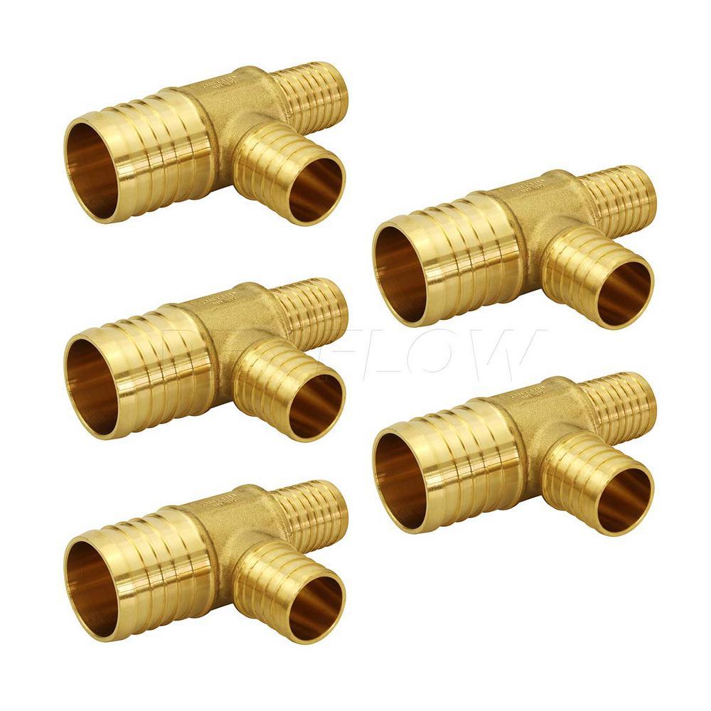 1 in. x 3/4 in. x 3/4 in. Brass PEX Barb Reducing Tee Pipe Fittings (5-Pack)
