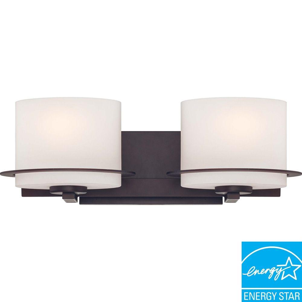 2-Light Venetian Bronze Vanity Fixture with Oval Frosted Glass Shade