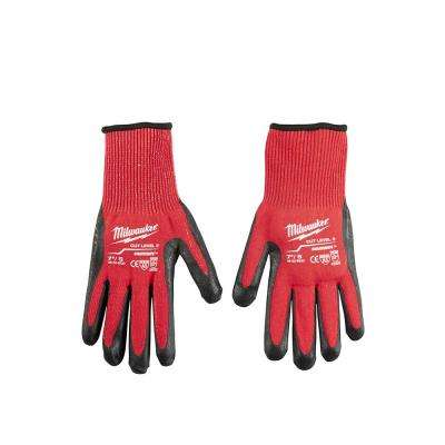 Large Red Nitrile Dipped Cut 3 Resistant Work Gloves