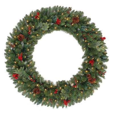 48 in. Battery Operated Pre-Lit LED Artificial Winslow Fir Christmas Wreath with 436 Tips and 120 Warm White Lights