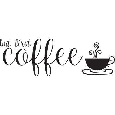 Black But First Tea Wall Quote Decal