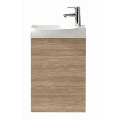 Tiny 17.75 in. W x 13.50 in. D x 27.50 in. H Vanity in Walnut with Porcelain Top in White with White Basin