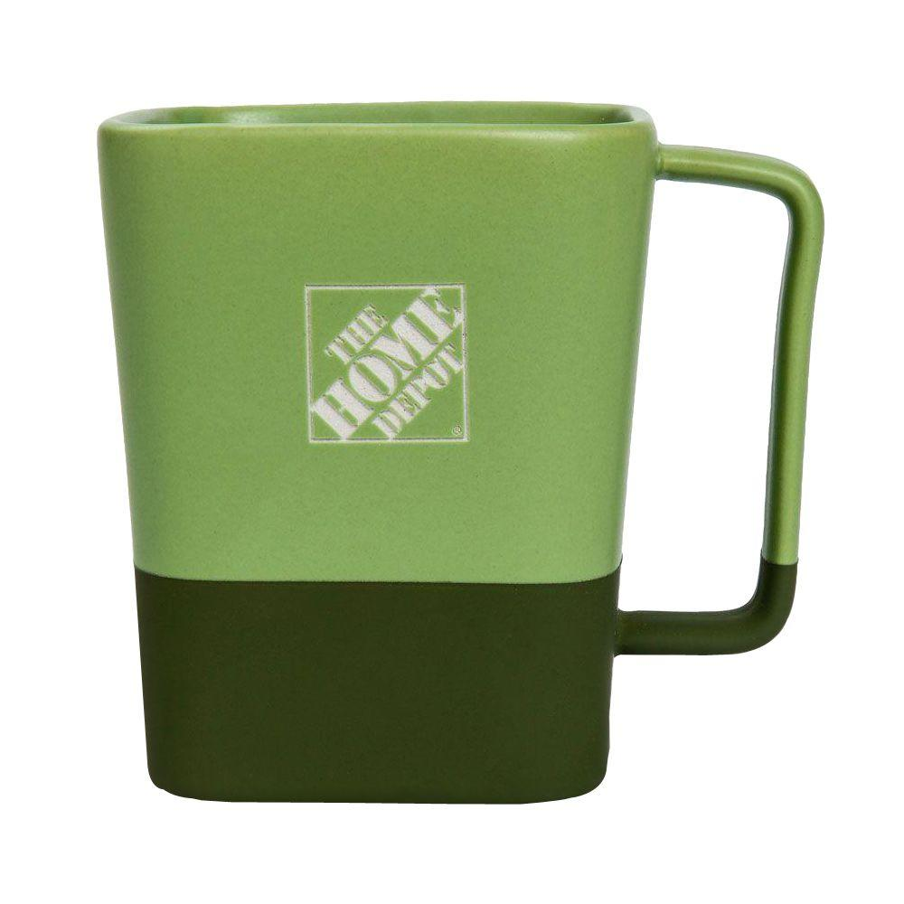 the home depot 16 fl oz square ceramic coffee mug in green 1365660