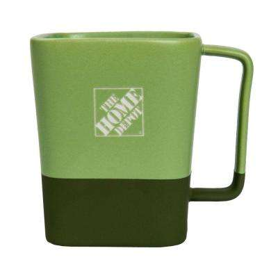 16 fl. oz. Square Ceramic Coffee Mug in Green