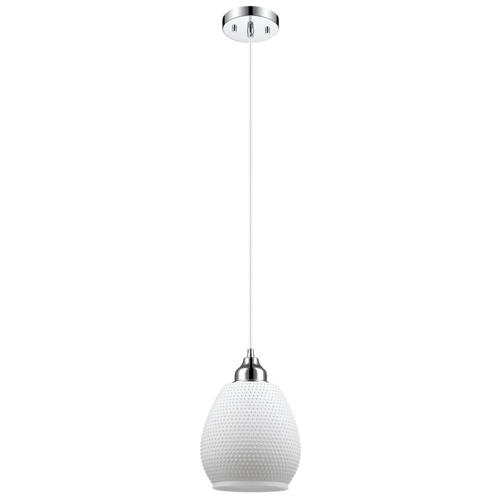 Globe Electric Snow 1-Light Chrome and Matte White Textured Glass Shade Hanging Pendant