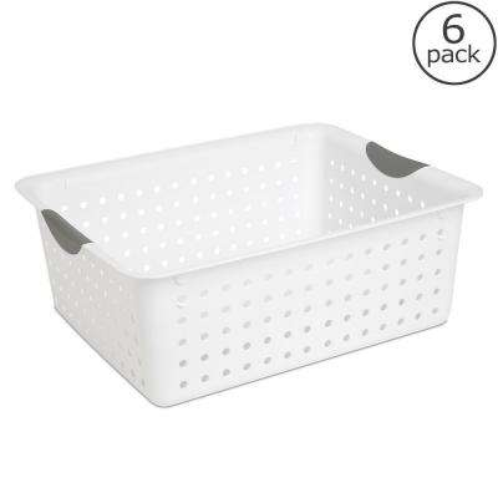 Large Ultra Storage Plastic Basket (6-Pack)