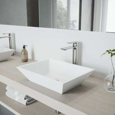 Vinca Vessel Bathroom Sink in White Matte Stone with Norfolk Faucet in Brushed Nickel and Pop-Up Drain Included