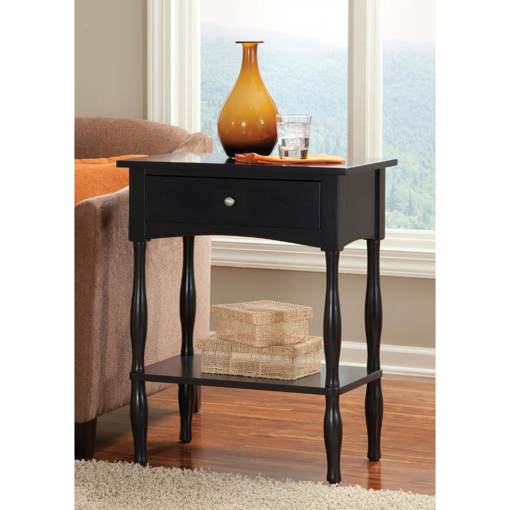 Alaterre Furniture Shaker Cottage Charcoal Gray End Table