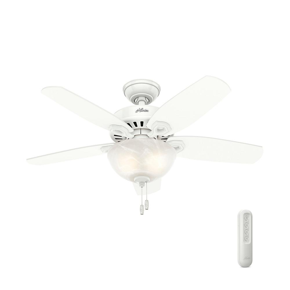 Hunter Builder Small Room 42 In Indoor Snow White Bowl Ceiling Fan With Light Kit