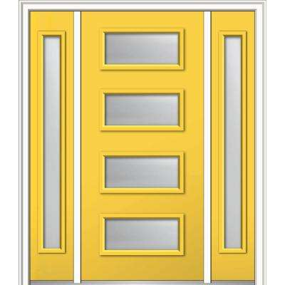 64 in. x 80 in. Celeste Right-Hand Inswing 4-Lite Frosted Painted Fiberglass Smooth Prehung Front Door with Sidelites