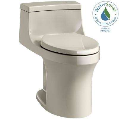 San Souci Touchless Comfort Height 1-Piece 1.28 GPF Single Flush Elongated Toilet with AquaPiston Flush in Sandbar