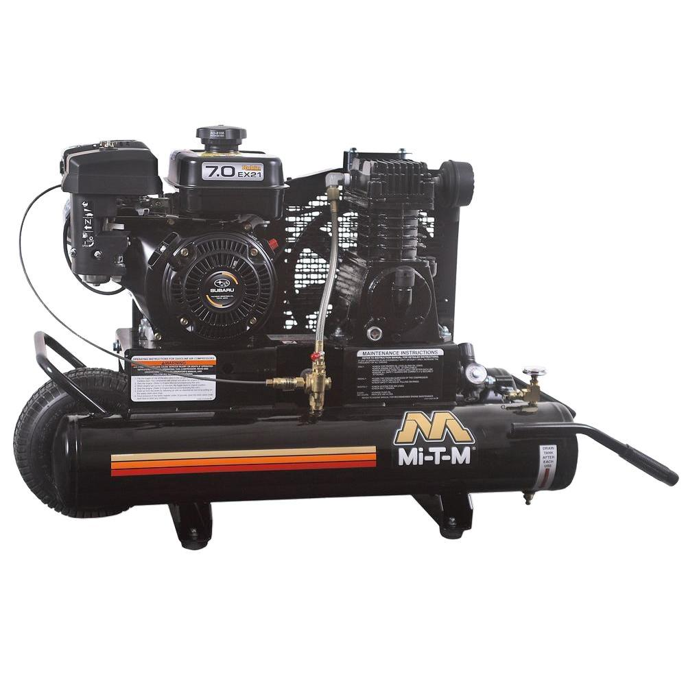 Mi-T-M 8 Gal. Tank 13.1 CFM at 100 PSI 7 HP Subaru Engine Portable Wheel Barrow Air Compressor