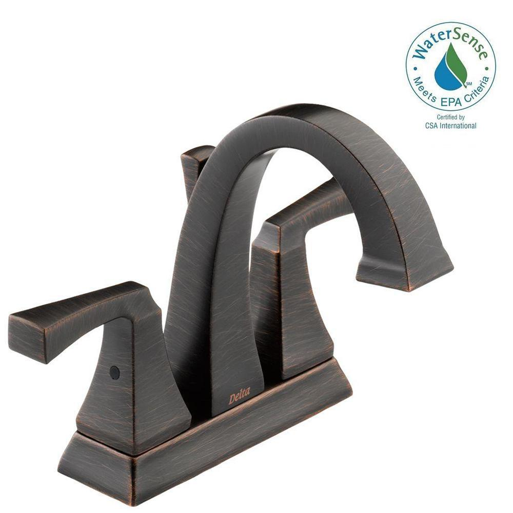 Delta Dryden 4 in. Centerset 2-Handle Bathroom Faucet with Metal Drain Assembly in Venetian Bronze