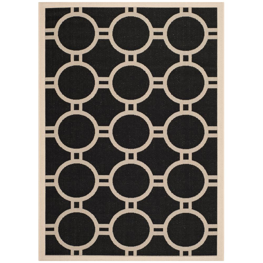 Courtyard Black/Beige 4 ft. x 6 ft. Indoor/Outdoor Rectangle Area Rug