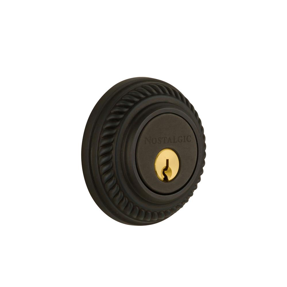 Rope Rosette 2-3/8 in. Backset Double Cylinder Deadbolt in Oil-Rubbed Bronze